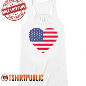 Love Heart Usa Flag Tank Top