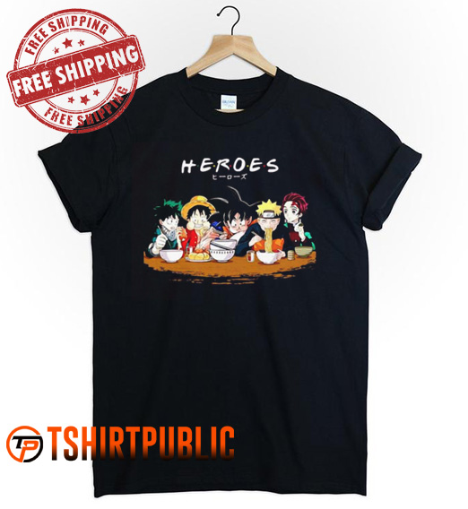 Mashup Heroes Characters Anime Eat Together T-shirt
